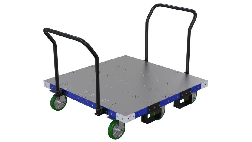 Push cart most commonly used to store and transport pallets and containers.