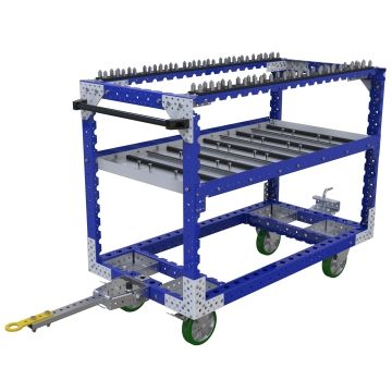 This cart was custom-designed to store and transport automotive parts between the warehouse and assembly area.