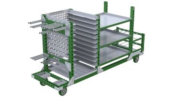 This kit cart was custom-designed to store and transport a wide range of materials.