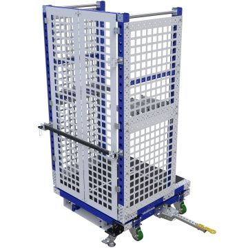 This cart was custom designed to be used with an order picker and tugger.