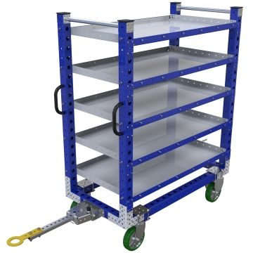 Tuggable five-level flat shelf cart, most commonly used for the transportation of totes/bins/boxes or loose components.