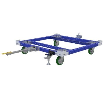 Tuggable pallet/container cart, since the cart doesn't have a deck it can only be used with one container size.
