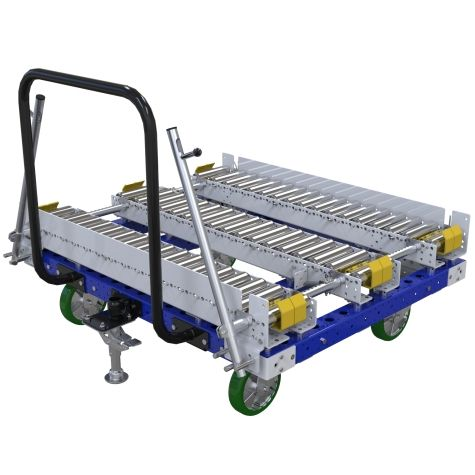 Tuggable conveyor cart for pallet transportation.