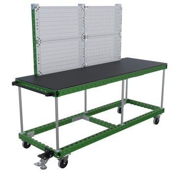 Two-level assembly table on wheels.