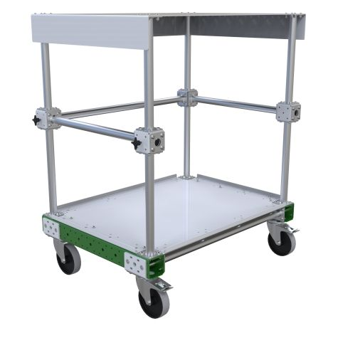 Small two-level assembly table on wheels.