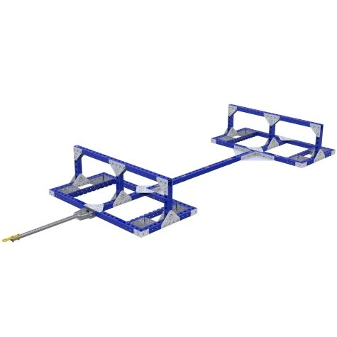 The towable cart is specially designed to hold long truck components going between the beam supports.