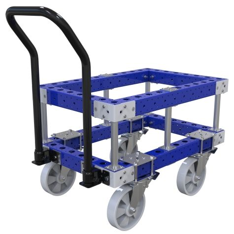 This elevated pallet cart is made to manually transport small pallets.