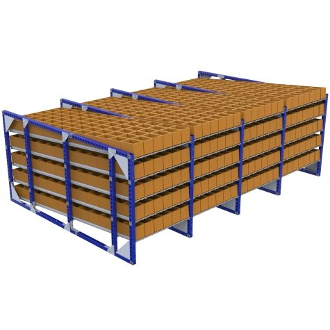 Flow racks are uses for material presentation.