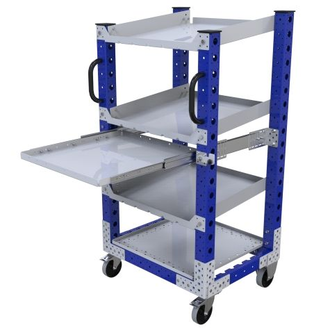 With three levels of flow shelves and one additional bottom plate and extendable shelf.