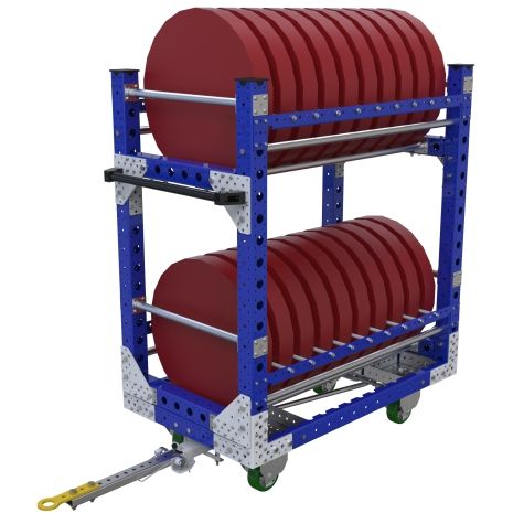 This is a quad steer tugger cart used to transport hubs and/or discs in two levels.