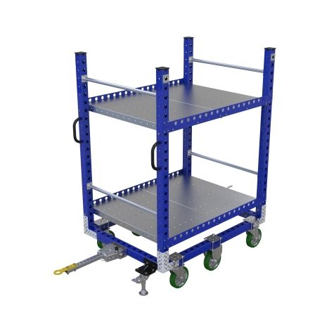Flat shelf cart to transport larger containers or boxes.