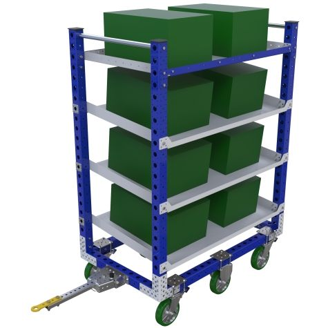 Tuggable shelf cart with three flow shelves.