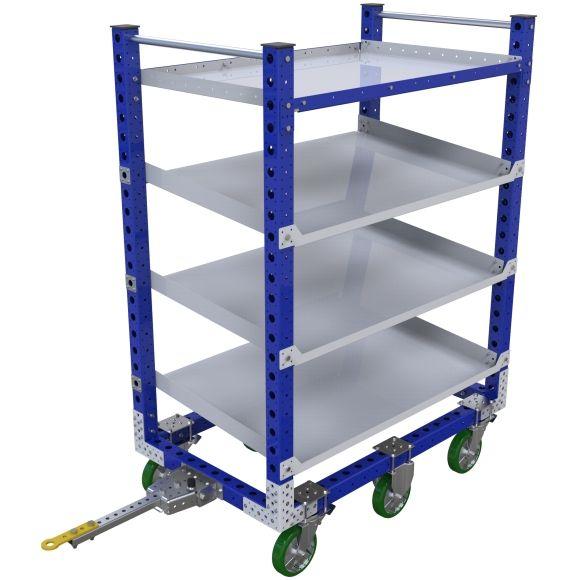 Tuggable shelf cart with three flow shelves.