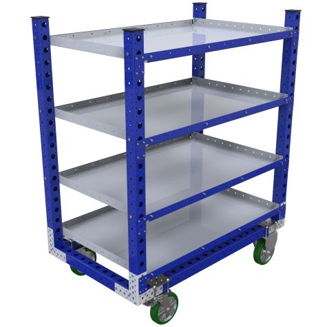Standard flat shelf cart with four levels.