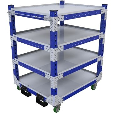 Flat shelf cart designed with extra supported shelves for heavier components.