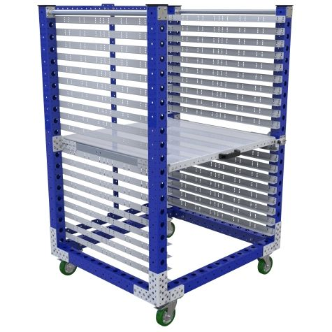 Shelf cart with a 100% extendable shelf.