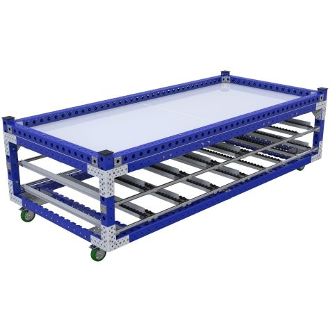 Kit cart specially designed to hold large mold used in construction.