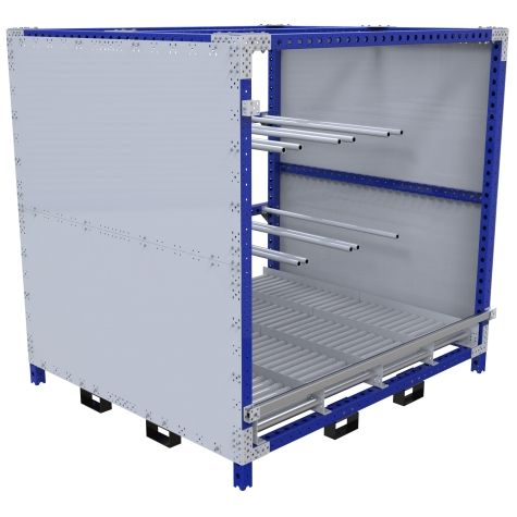 This rack is designed to hold large train components/panels.