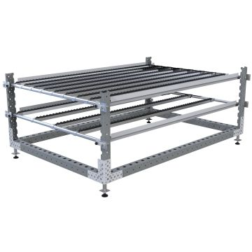 This roller rack is designed to hold and move large light-weight panels.