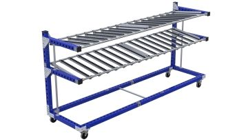 Movable flow rack designed to be placed over a desk or work station.