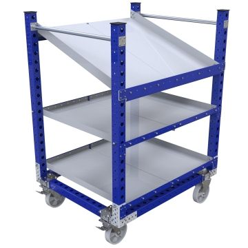 Shelf cart designed with two flat shelves and one flow shelf.