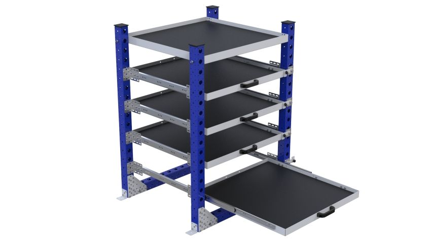 Extendable shelf rack to ease the product presentation for operators.