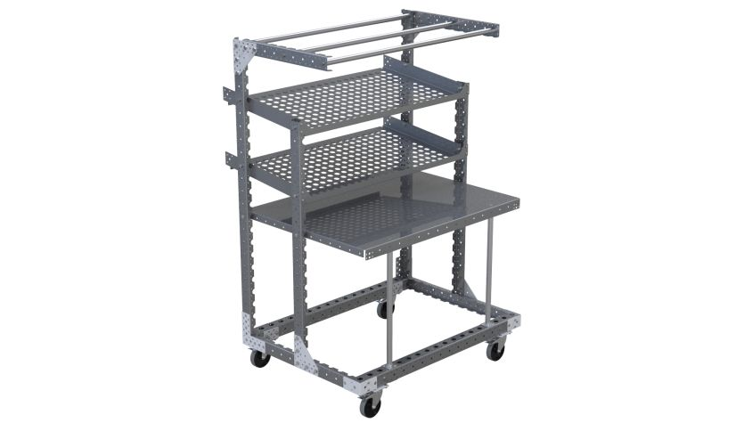 Portable workstation with one flat level, two flow levels, and a top-level for hanging parts or tools.