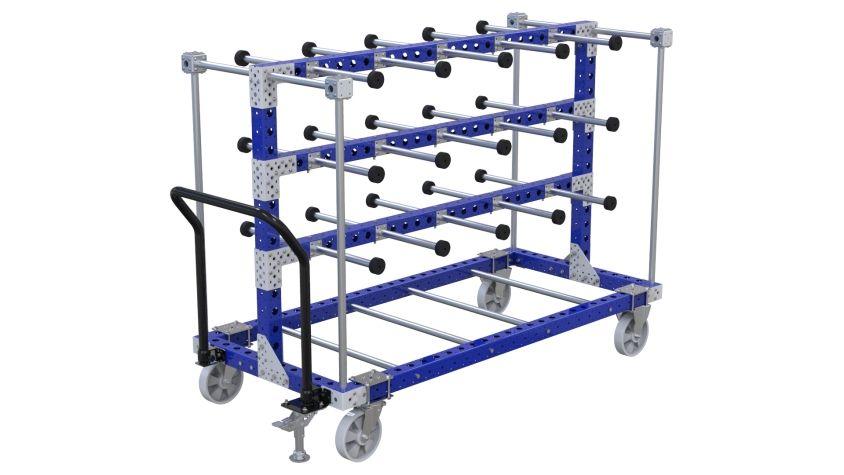 Material handling cart designed for transporting hanging parts.