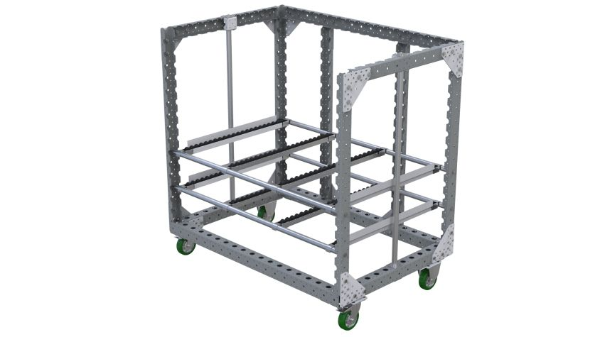 Roller cart designed to ease the presentation of materials for operators.