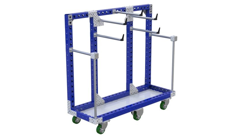 This cart is designed to transport wire coils.