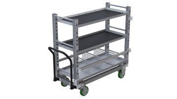 Flat shelf carts with three levels and two shelf types.