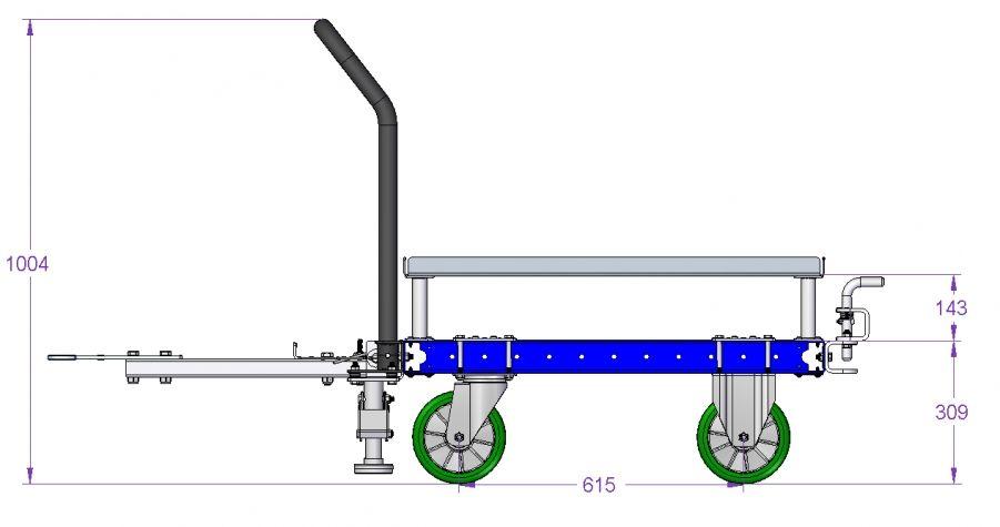 Flat Deck Pallet cart 910 x 840 mm