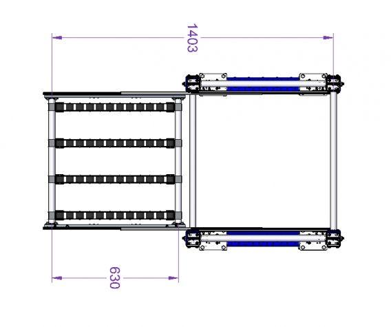 Telescopic Roller Shelf Cart 700 x 700 mm