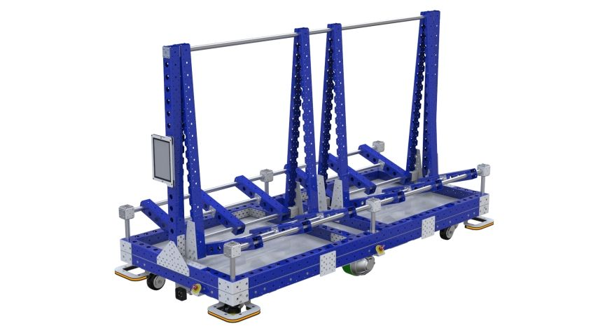 Specially designed to transport different types of boards across a shop floor.