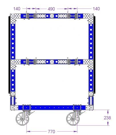 Hanging Rack Cart For B-Frame - 1260 x 840 mm