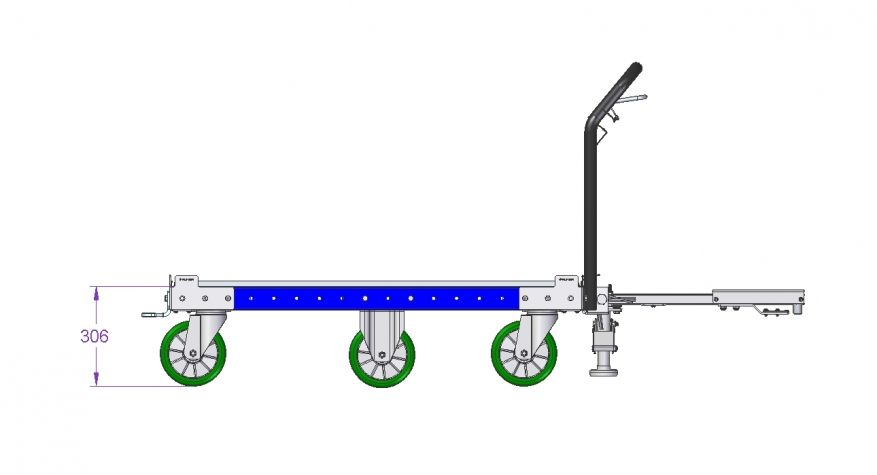 Tugger Cart with Ergonomic Tow bar