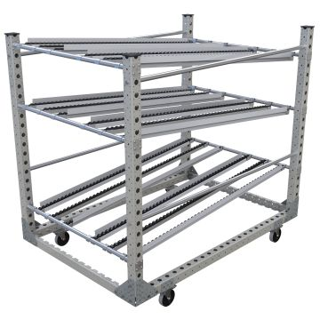 Three-level flow rack, two levels for material presentation, and one returning.