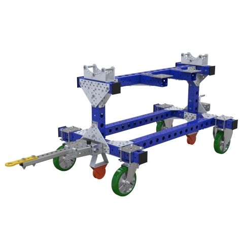 This cart was custom-designed to store and transport axles for cars.