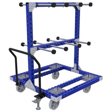 Hanging cart designed to store and transport coils hoses.