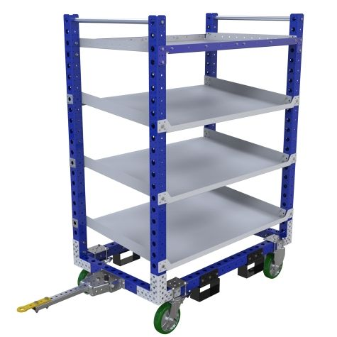 Four-level flow shelf tugger cart designed for boxes and bins.
