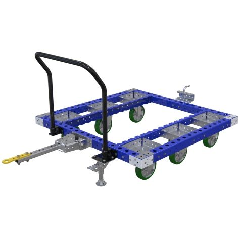 Tuggable cart designed for a specific size of pallet.