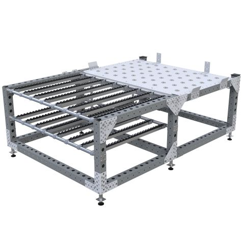 Stationary flow rack used for large heavy panels.