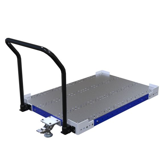 Low rider push cart designed to transport pallets and containers.