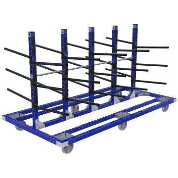 Large hanging cart designed to store and transport pipes.