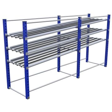 Three-level stationary flow rack most commonly used for line-side presentation of bins and totes.