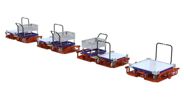 FlexQube carts in a train