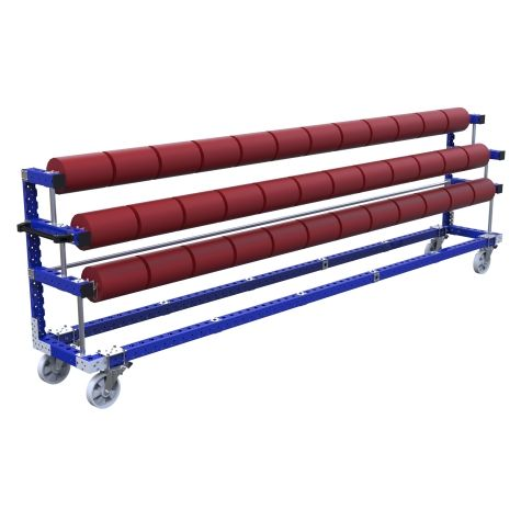 This cart was custom-designed to store and transport long rolls.