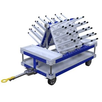 Kit cart specially designed for one of our customers, equipped with both a tow bar and handlebar for transportation manually and in a tugger train system.