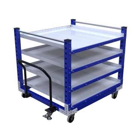 Four-level flat shelf push cart.