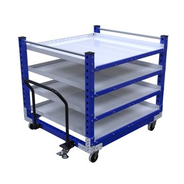 Four-level flat shelf push cart.